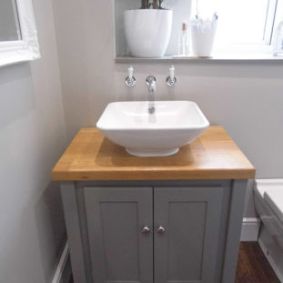 Countertop Vanity Unit in Manor House Grey with Solid Oak Oiled Top