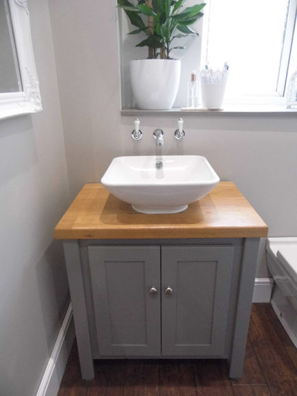 Vanity Unit In Manor House Grey With Solid Oak Oiled Top Aspenn Furniture