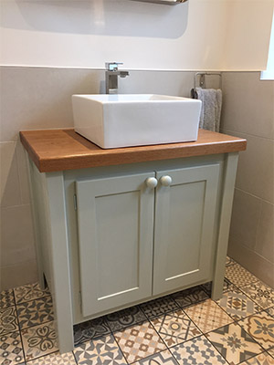 Farrow And Ball Mizzle.Vanity Unit Farrow Ball Mizzle Oiled Oak Top
