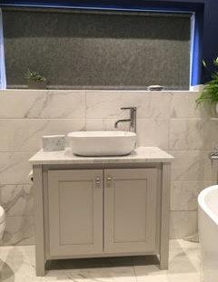 Vanity Unit-Countertop Sink In Pavillion Grey-Carrara Marble