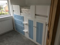 Cabin bed in white and sky blue