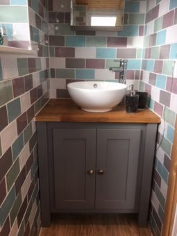 Manor House Grey with a Solid Oak Vanity Unit