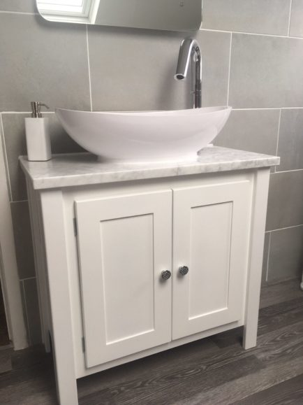 White Vanity Unit With Carrara Marble Top