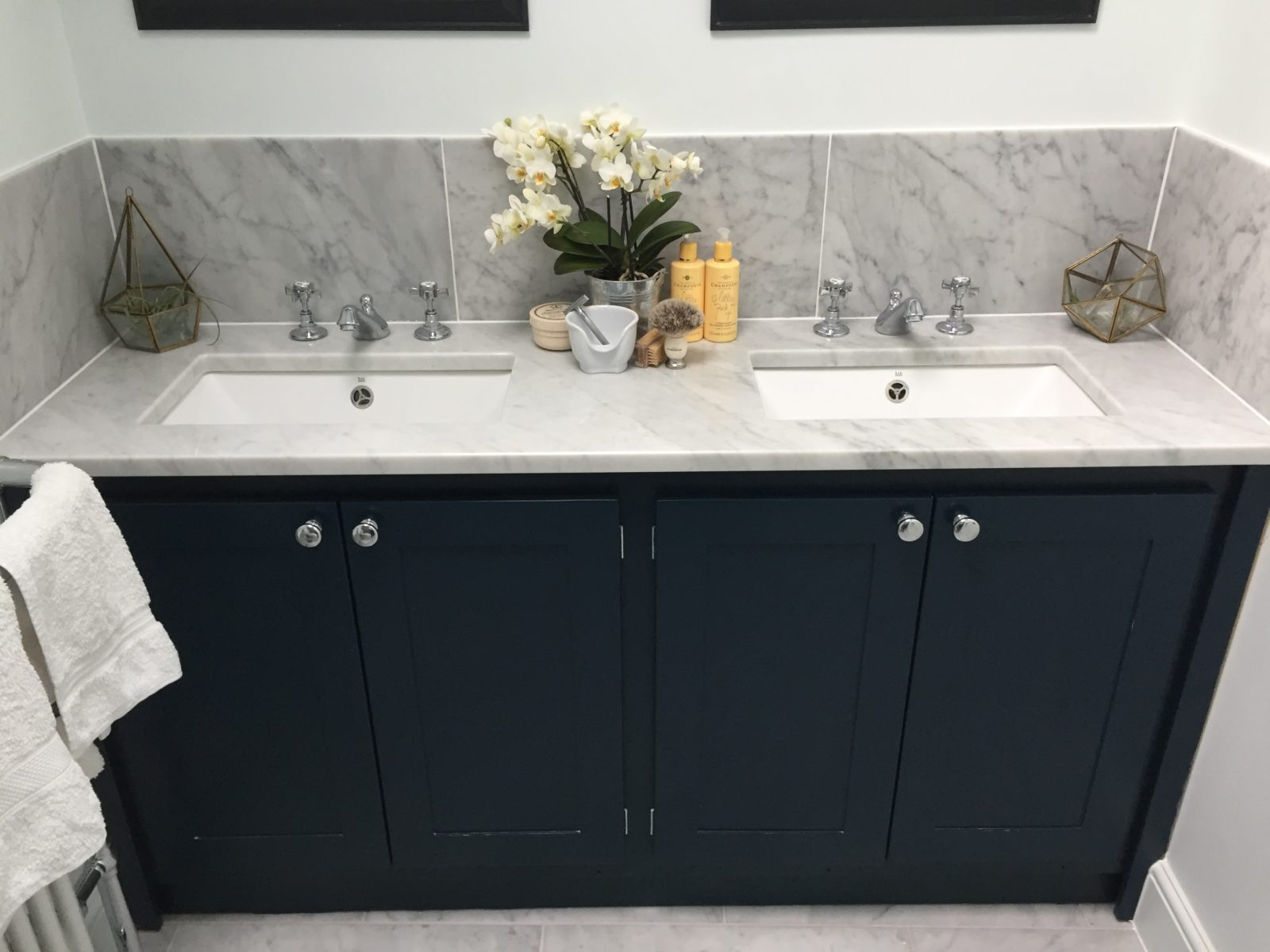Double Vanity Unit In Hague Blue Aspenn Furniture