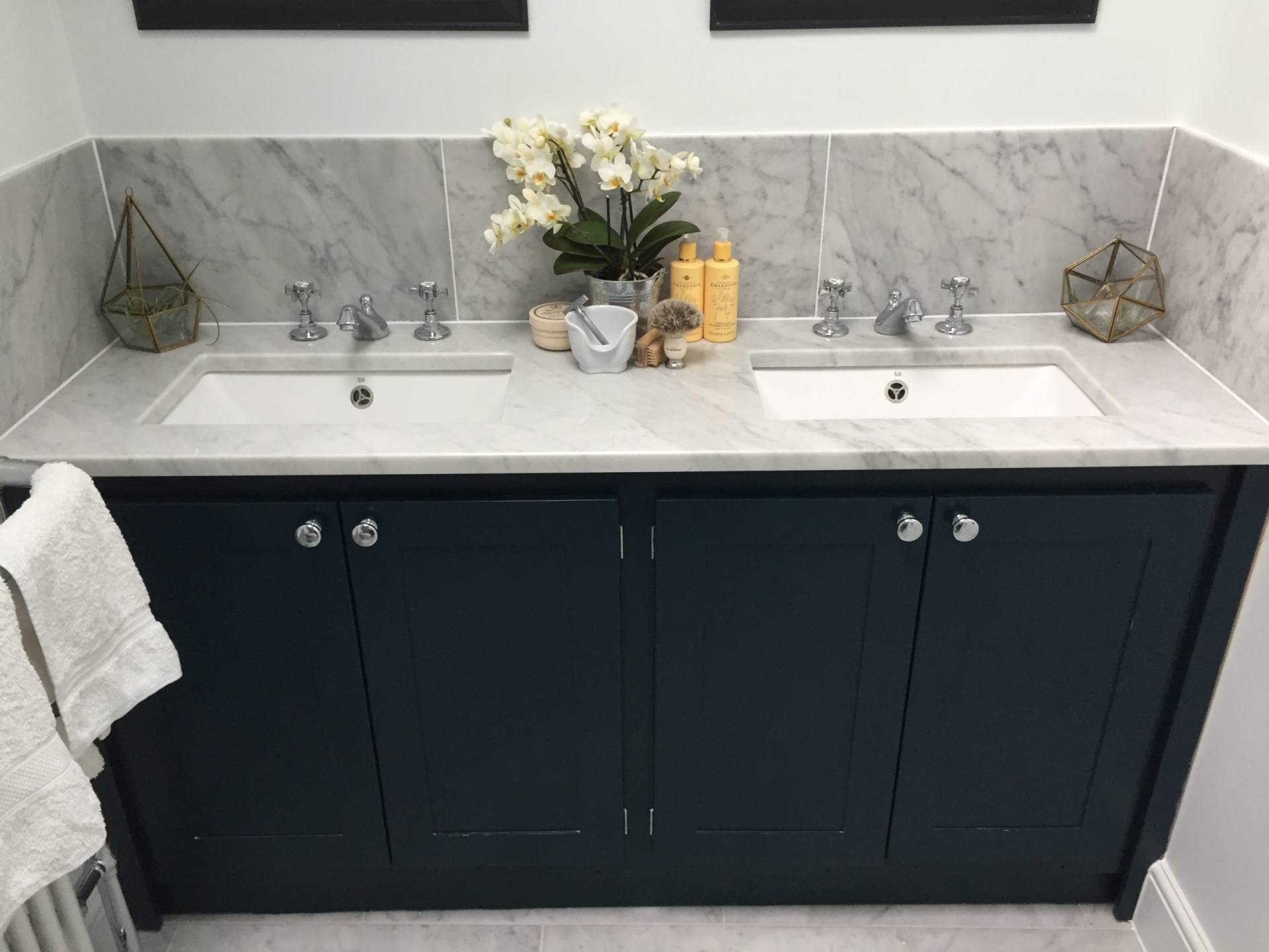 Double Vanity Unit In Hague Blue Aspenn Furniture