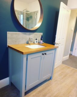 Manor House Grey Solid Oak Top Vanity Unit