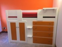 White & Orange Cabin Bed