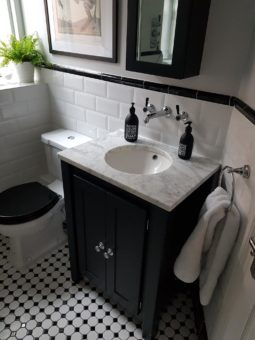 Off Black Vanity Unit With Carrara Marble Top