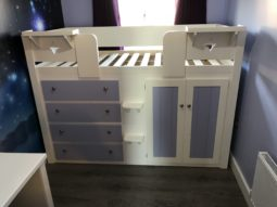 4 Drawer Cabin Bed In Bone White/Lillac
