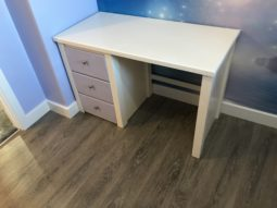 Bone White Desk With Lillac Drawers