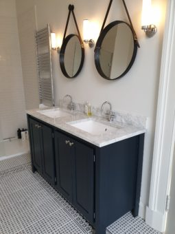 Black Blue Double Vanity Unit With Carrara Marble Top