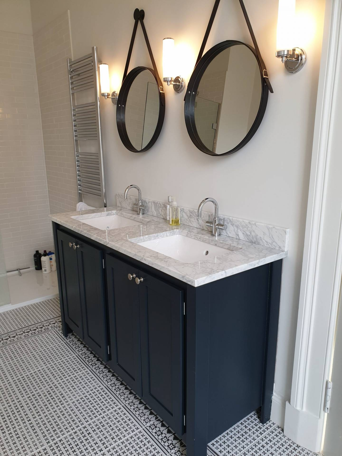 Black Blue Double Vanity Unit With Carrara Marble Top Aspenn Furniture