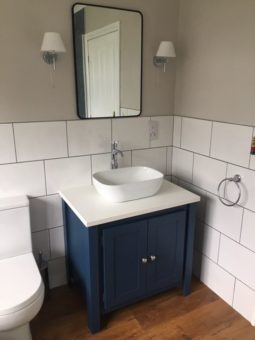 Stifkey blue vanity unit white quartz top