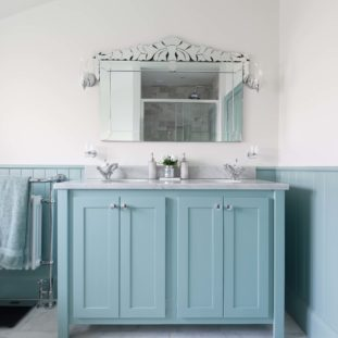 Dix Blue Double Vanity Unit with Carrara Marble Top