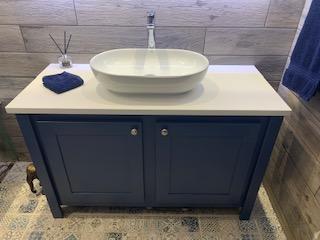 Single Countertop Vanity Unit In Stifkey Blue