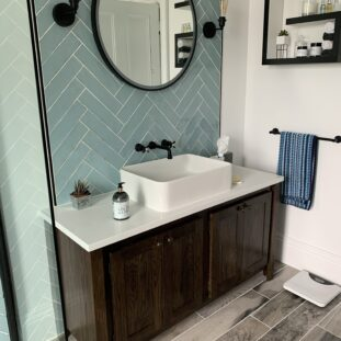 Countertop Vanity Unit in Woodstained Solid Oak with A White Quartz