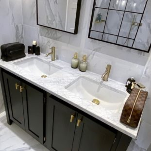 Double Undercounter Vanity Unit in Pitch Black with Carrara Top