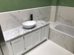Single Countertop Vanity Unit in White with Carrara Marble Top