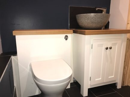 Single Vanity Unit in White with Solid Oak Top